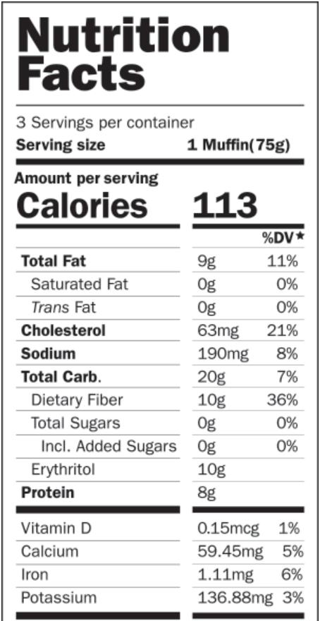 Smart Muffin - Banana Nut - Eric Schleien - Nutrition Facts